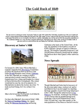 Info Reading Text/Vocab - The California Gold Rush of 1849