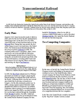 Info Reading Text/Vocab - The Transcontinental Railroad (n