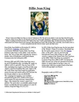 Info Reading Text - Women's History Month: Billie Jean Kin