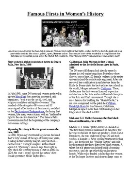 Info Reading Text - Women's History Month: Firsts in Women