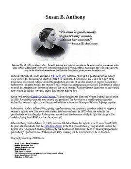 Info Reading Text - Women's History Month: Susan B. Anthon