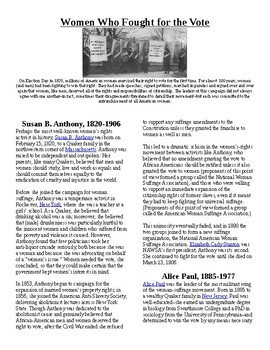 Info Read Text and Vocab - Women's History Month: Women Wh