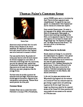 Info Text - Moving Toward Independence: Thomas Paine's Com