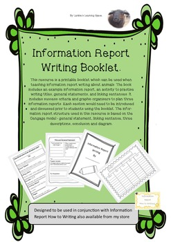 Information Report Writing work Booklet