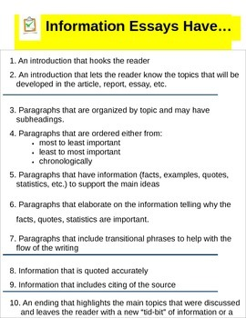 Information Writing Checklist