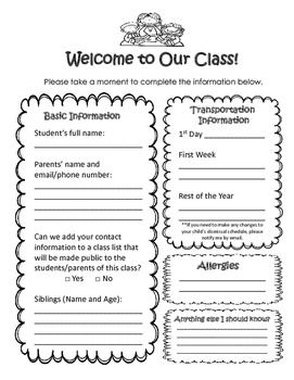 Information form for Parents (English and Spanish)