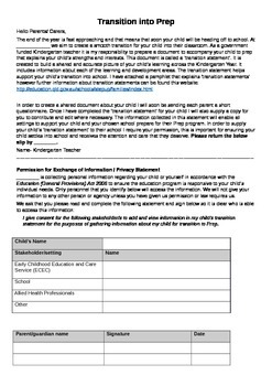 Information sheet about Transition Statements / Including
