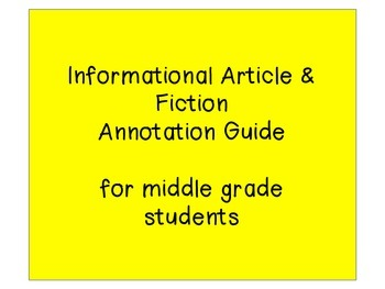 Informational Article and Fiction Simple Annotation Guide