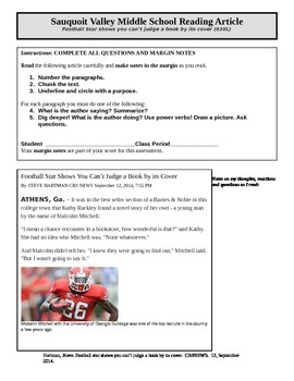 Informational Article of the Week - Football player in a b