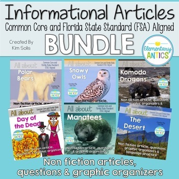 Informational Articles FSA & CCSS Reading & Language/Editing Bundle by Kim Solis