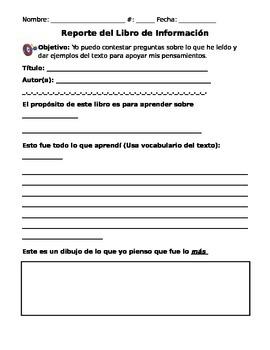 Informational Book Report (in Spanish)