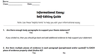 Informational & Expository Writing Revising Guide Handout