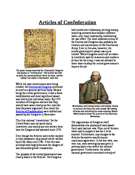 Informational Reading Text - Making Rules: Articles of Con