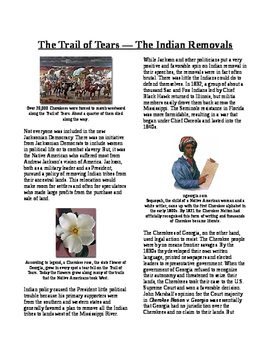 Info Reading Text - Age of Jackson: Trail of Tears and Ind