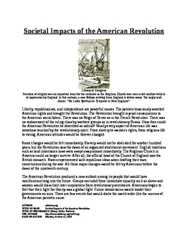 Informational Text - American Society after Revolution (No Prep)
