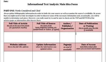 Informational Text Analysis, Main Idea Template Statement