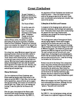 Informational Text - Ancient Africa: Zimbabwe (No Prep)