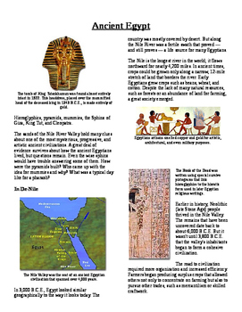 Informational Text - Ancient Egypt (No Prep)