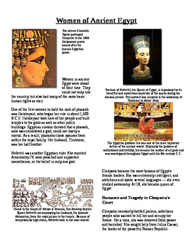 Informational Text - Ancient Egypt: Women in Ancient Egypt
