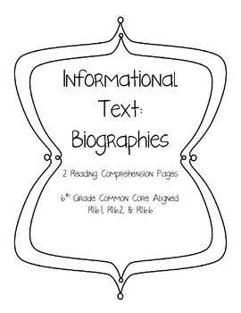 Informational Text Biography Reading Guide