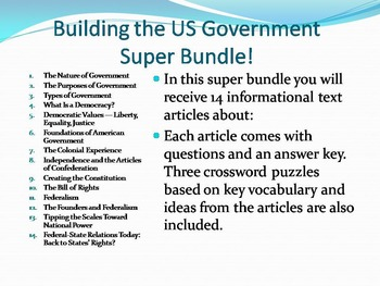 Informational Text - Building the US Gov Super Bundle 14 A