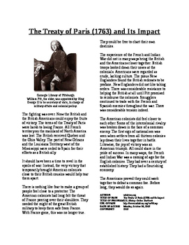 Informational Text - Colonial America's Place: Treaty of P