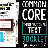 Informational Text: Common Core Booklet for ANY Piece of N
