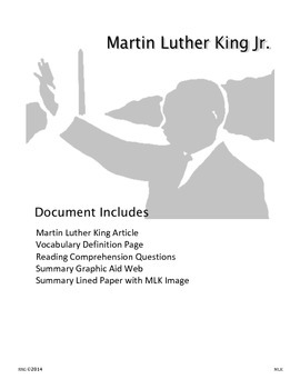 Informational Text: Dr. Martin Luther King Jr. - Activitie
