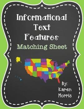 Informational Text Features Matching Sheet
