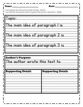Informational Text Graphic Organizers 2nd Grade CCSS ELA