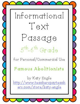 Informational Text Passage for Commercial Use - Abolitioni