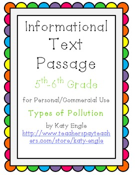 Informational Text Passage for Commercial Use - Pollution