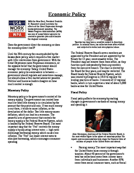Informational Text - Policy Making: US Economic Policy (No Prep)
