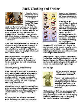 Informational Text - Prehistoric Times: Food, Clothing and