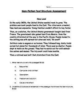 3rd Grade CCSS Informational Text Structure Assessment #2 RI 3.8