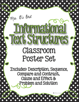 Informational Text Structure Posters in Black and White Po