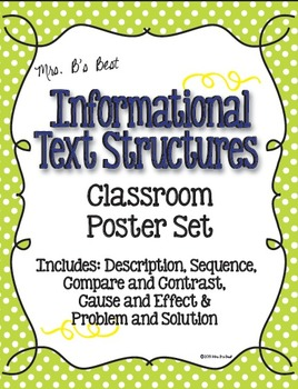 Informational Text Structure Posters in Blue, Lime and Lem