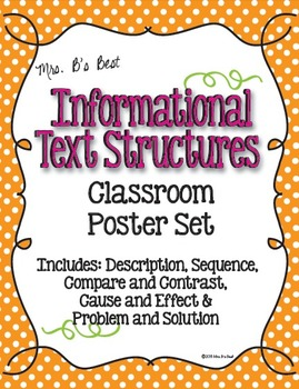 Informational Text Structure Posters in Tangerine, Hot Pin