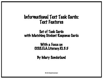 Informational Text Task Cards: Text Features