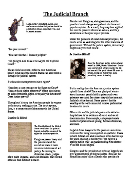 Informational Text - The Judicial Branch (No Prep)