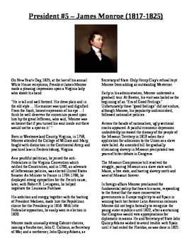 Info Reading Text - US Presidents: James Monroe (No Prep/S