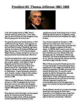 Info Reading Text - US Presidents: Thomas Jefferson (No Pr