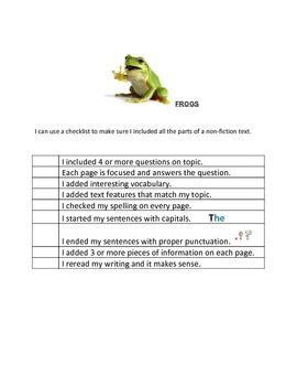 Informational Writing Checklist (Readygen 1B Elephants/Fro
