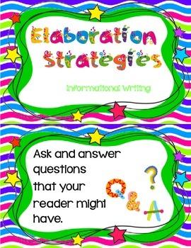 Informational Writing - Elaboration Chart Cards