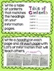 Informational Writing - Genre/Structure Chart Cards