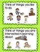 Informational Writing - topic choice chart cards