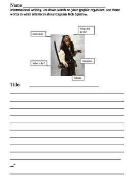 Informational writing about Captain Jack Sparrow