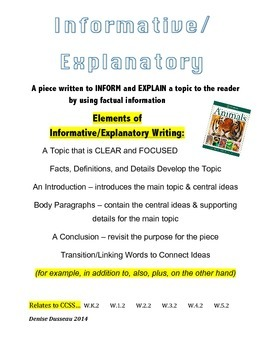 Informative Elements Writing Poster