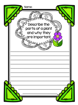 Informative Writing Prompt-- Parts of a Plant
