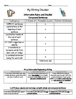 Informative writing rubric and checklist